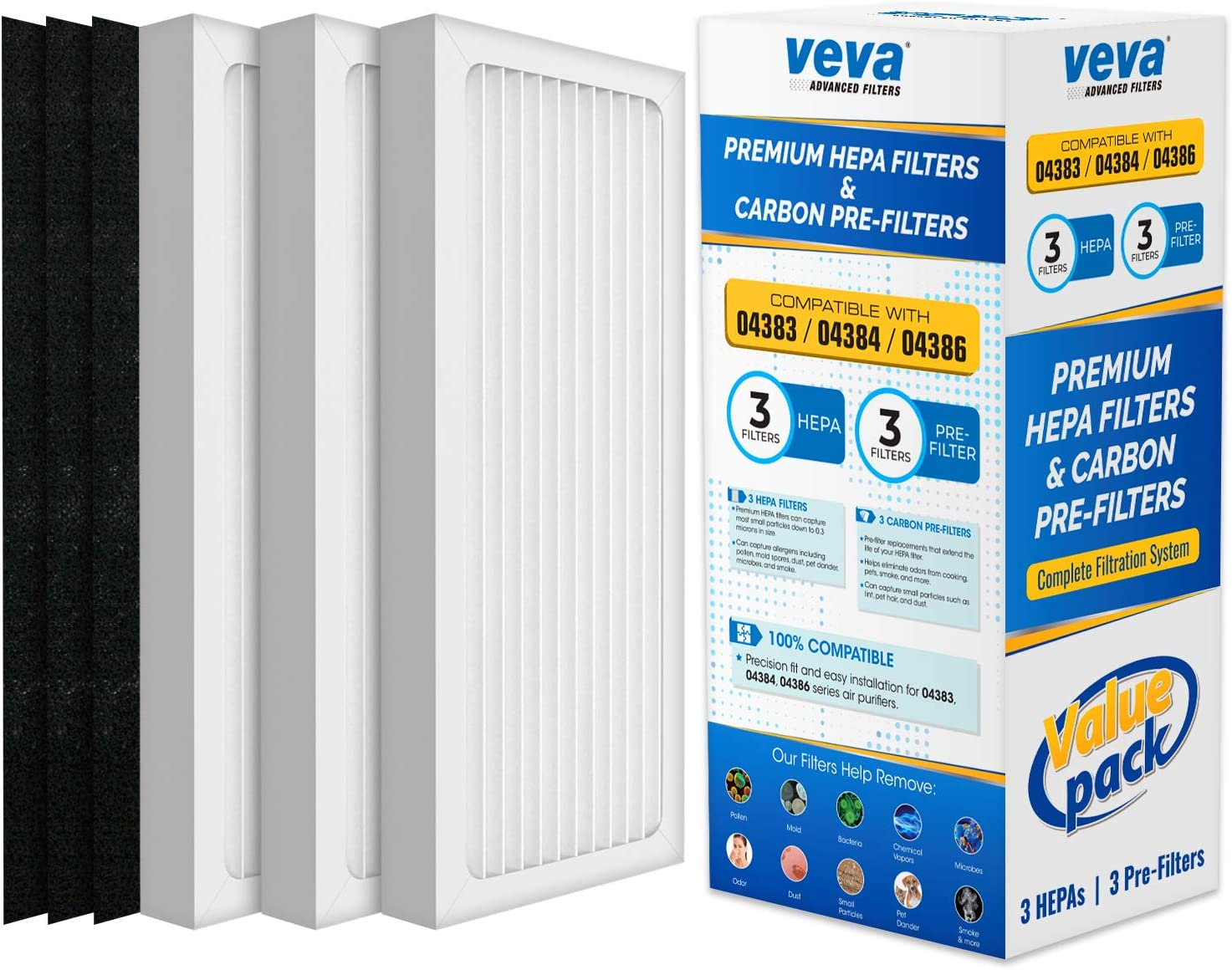 VEVA Complete Premium 3 HEPA Style Filters and 3 Full-Size Activated Carbon Pre-Filters Replacement Filter Pack Compatible with HB Air Purifier 04386A, 04383, 04385, 04384, 990051000