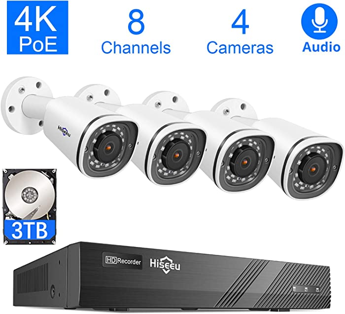 Hiseeu 4K PoE Security Camera System, 8CH 8MP Home Video Surveillance DVR Kit with 3TB Hard Drive, 4Pcs 4K PoE Waterproof Cameras for Indoor Outdoor Security, 30 Days Video/Audio Loops Recording