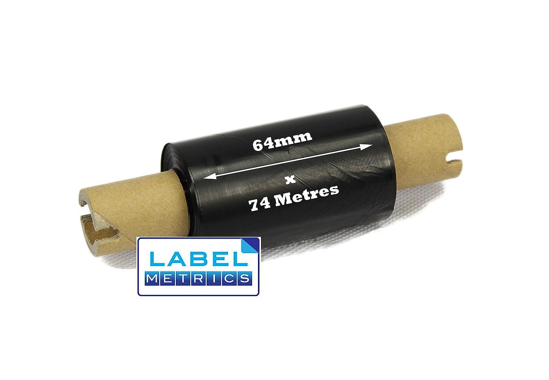 Label Metrics - 64mm x 74m Black Transfert thermique Rubrique de cire - Boî te de 6