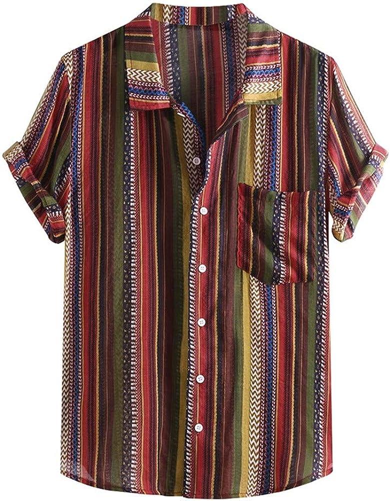 Camisa Henley Holgada De Manga Corta para Hombre, con Estampado éTnico Y con Cuello De Raya Colorido: Amazon.es: Ropa y accesorios