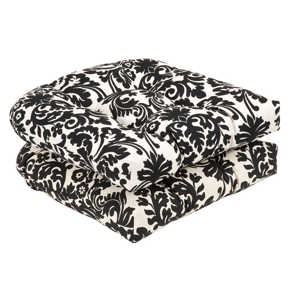 Amazon.com: Pillow Perfect Indoor/Outdoor Black/Beige Damask Wicker Seat  Cushions, 19 Inch Length, 2 Pack: Home U0026 Kitchen