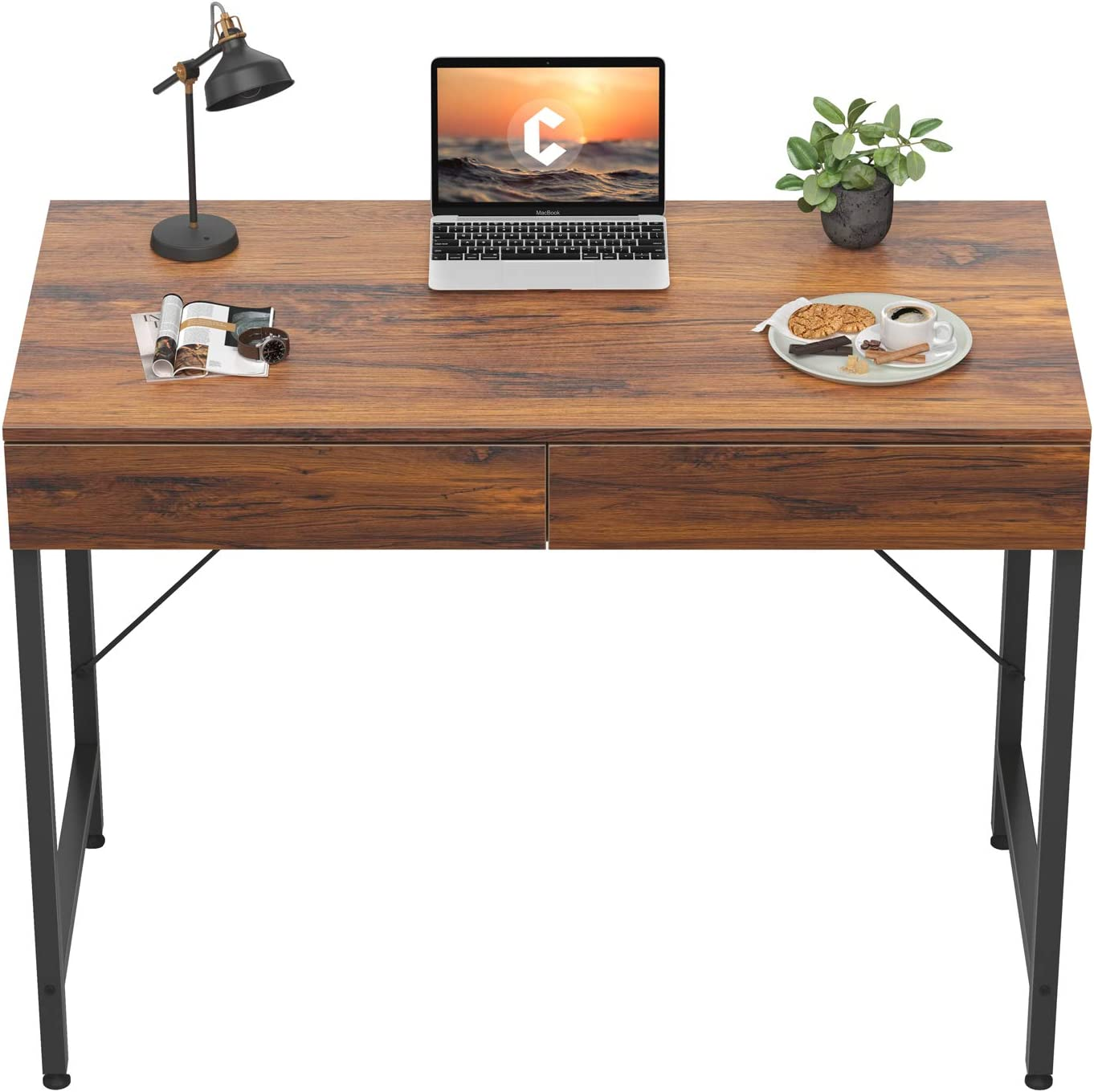 CubiCubi Computer Small Desk, 40 inches with 2 Storage Drawers for Home Office Writing Desk, Makeup Vanity Console Table, Dark Rustic
