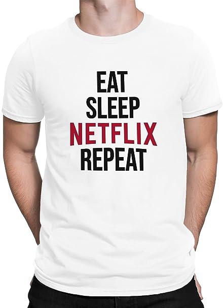 vanVerden Hombres Camiseta Comer Sueño Netflix Repetir