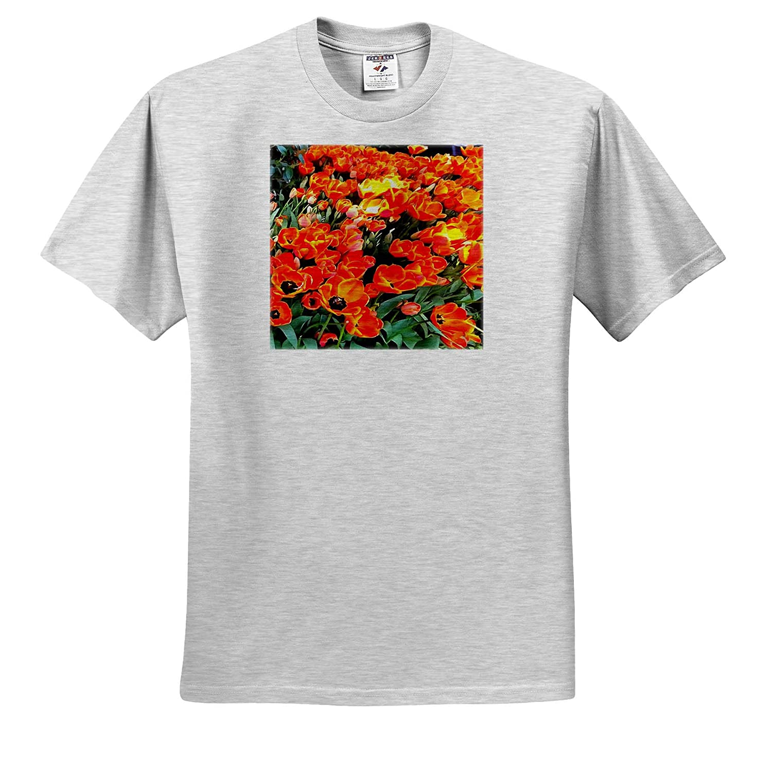 3dRose Taiche Tulips ts/_315655 Acrylic Painting Tulips On Fire Adult T-Shirt XL