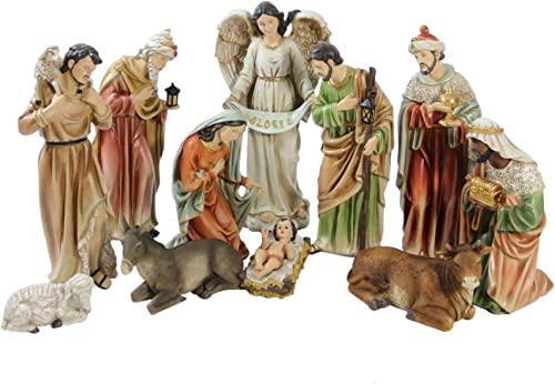 11pc Vibrantly Colored Traditional Religious Christmas Nativity Figurine Set 15.5