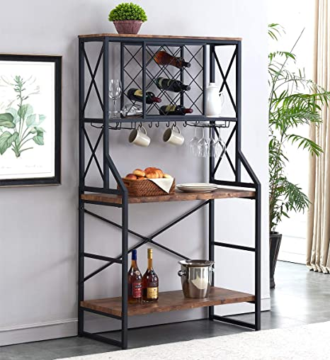 Amazon.com: HOMYSHOPY Wine Rack Table, Industrial Bakers ...