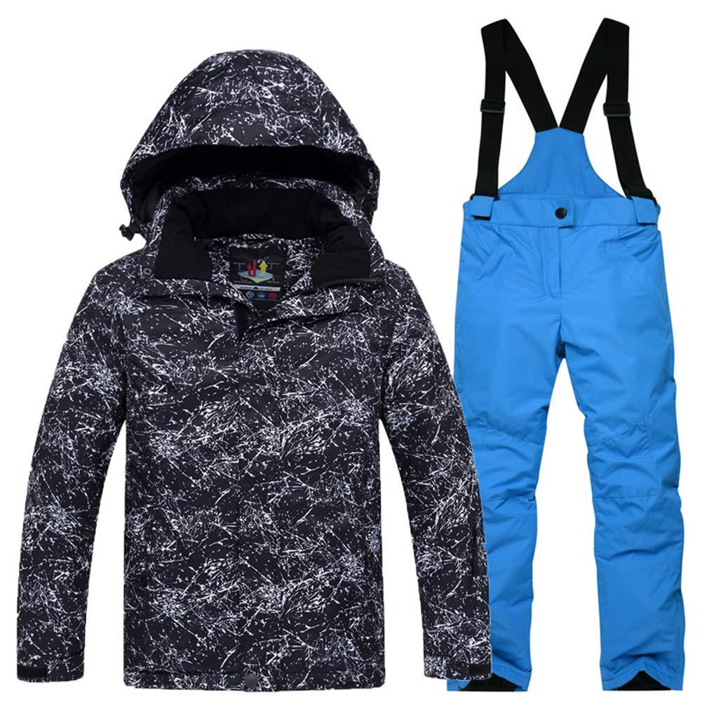 Foudre Noir+bleu Roi S 6ans YFCH Garçon Fille Ensemble de Ski Unisexe-Enfant Veste de Ski avec Salopette Combinaison de Ski
