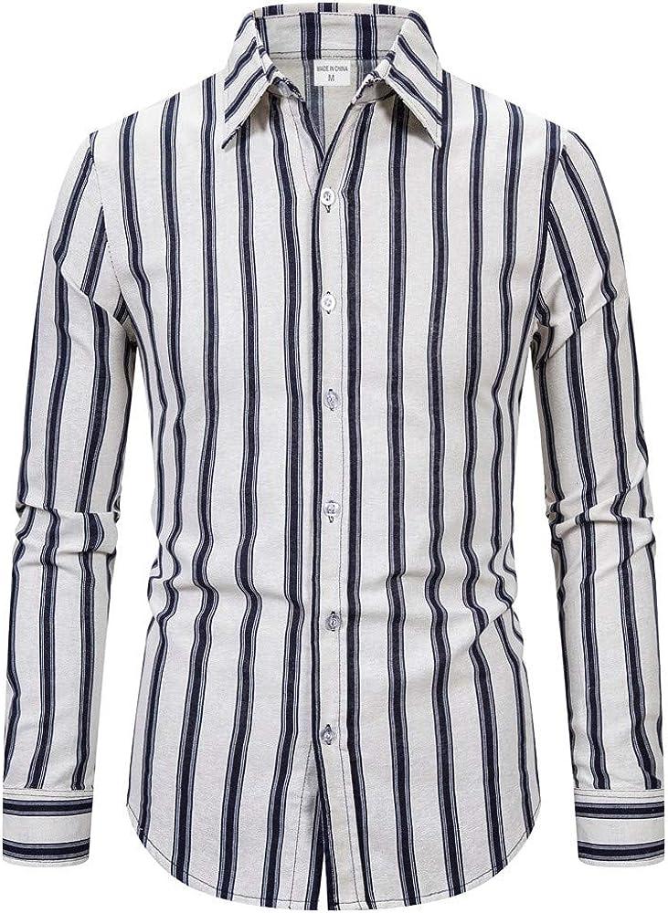 HEETEY - Camisa de Manga Larga para Hombre, de diseño, Informal, de algodón, con Rayas de algodón y Lino Negro XXXL: Amazon.es: Ropa y accesorios