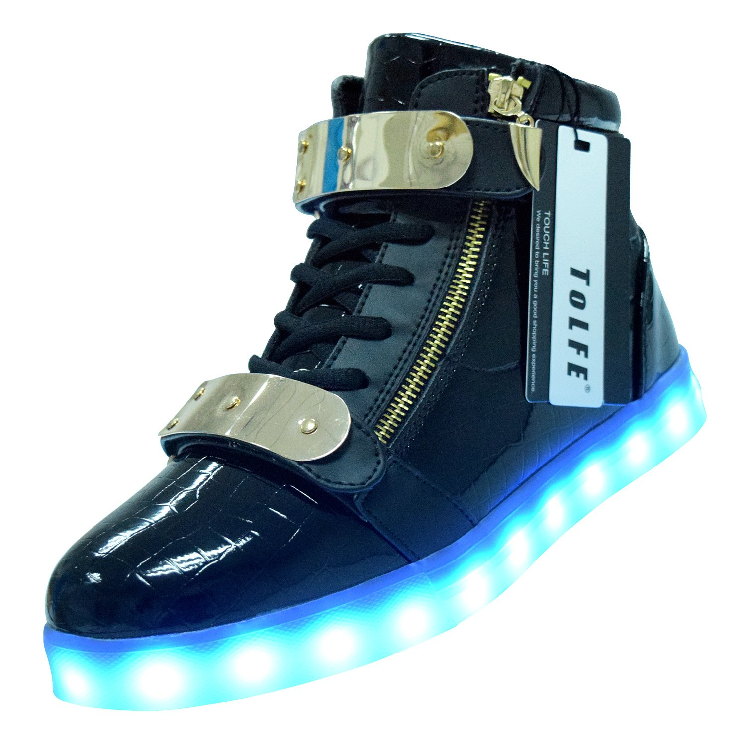 ToLFE Men Women High Top USB Charging LED Light Up Shoes Flashing Sneakers
