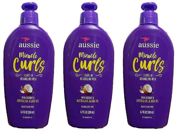 Aussie Leave-In Detangling Milk Miracle Curls 6.7 Ounce (200ml) (3 Pack)