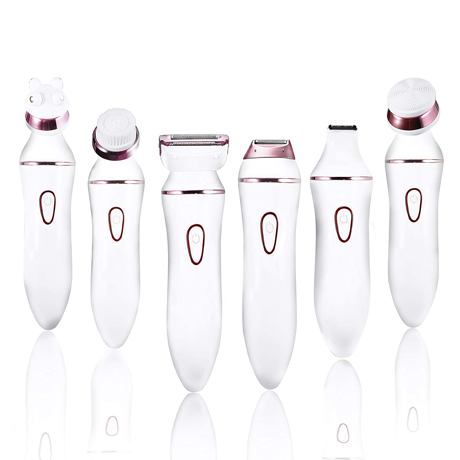 Ladies Electric Shaver, 6 in 1 Rechargeable Facial Razor, Bikini Trimmer, Face Cleaning Brush - Wet Dry Use, 6 Interchangeable Heads for Precise Trimming Remover for Legs, Armpit vimc