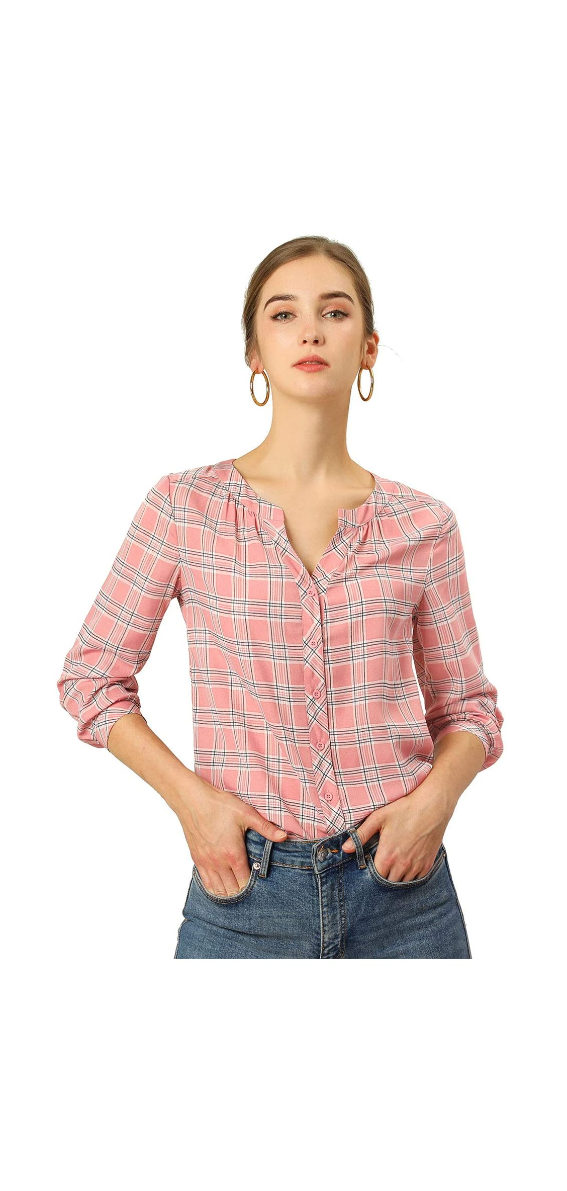 Women's Vintage Shirt Button Up Split Neck Plaid Tops