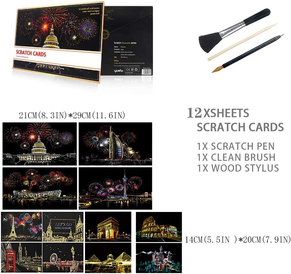 12Pcs Scratch Art Paper,Scratch /& Sketch Art para ni/ños y Adultos,Rainbow Painting Night View Scratchboard,DIY Art Craft Mini Envelope Postcard Set,Scratch Painting Creative Gift