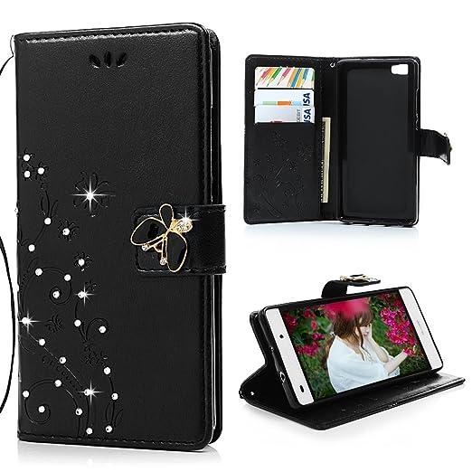 143 opinioni per Mavis's Diary Huawei P8 Lite Nero Cover, Glitter Bling 3D DIY Diamonte Fatto a
