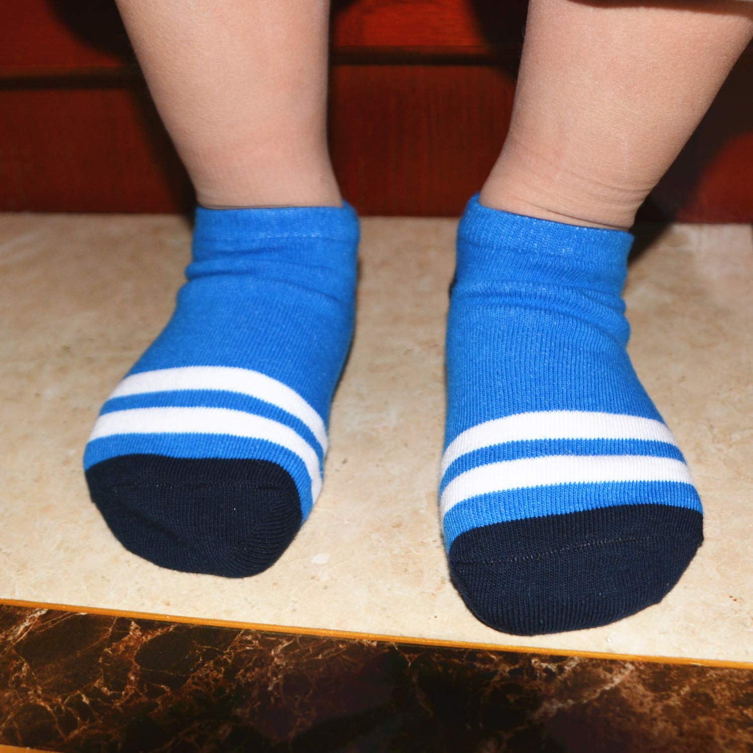 6-Pairs Baby Boys Low Cut Ankle socks Fashion Stripes Cotton No show 2-4T,5-8T