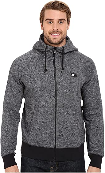 Nike aw77 shoebox full zip hoodie black white heather + FREE