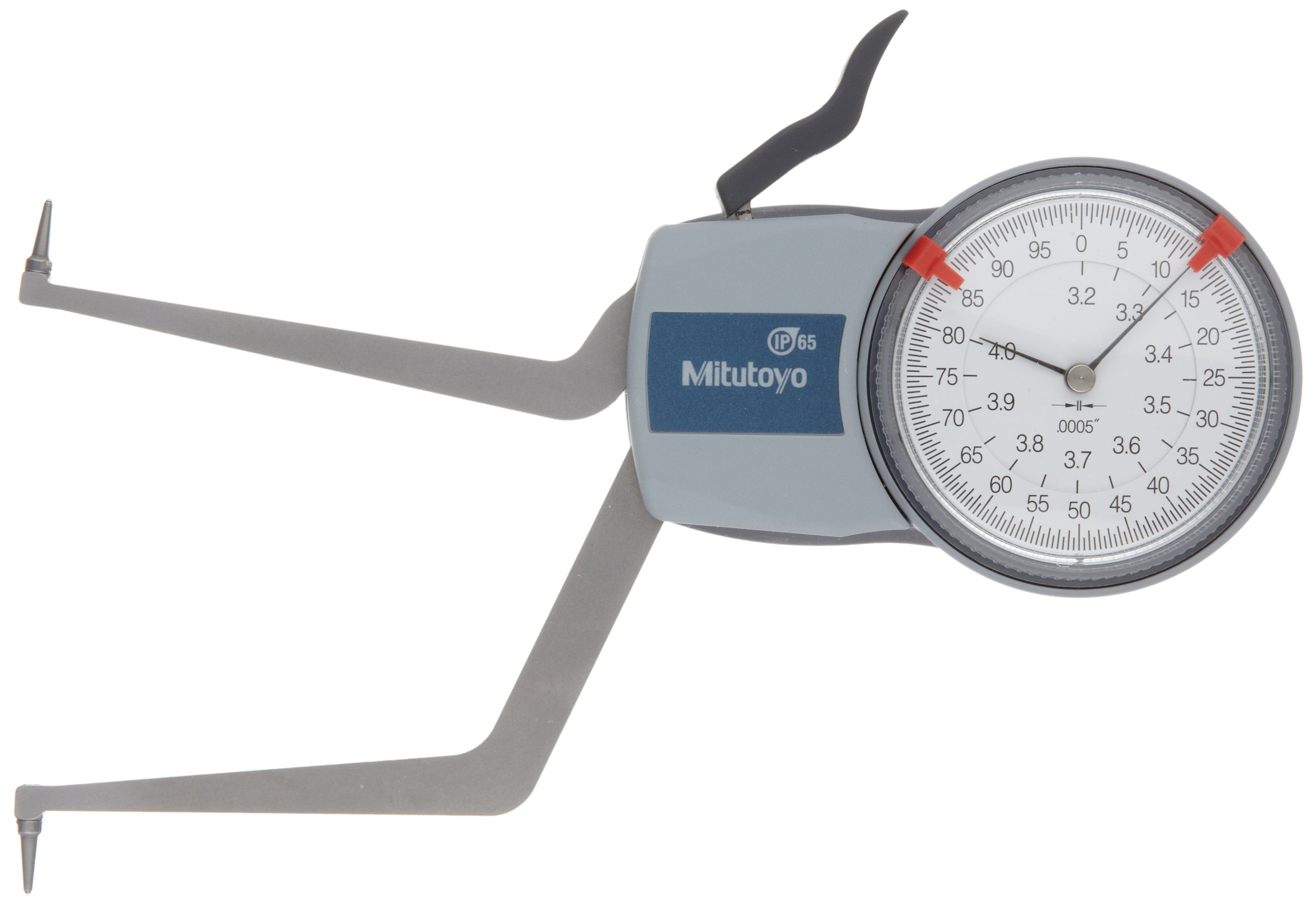 Mitutoyo 209-351 Caliper Gauge, Pointed Jaw, White Face, 0.20-0.60'' Range, +/-0.0008'' Accuracy, 0.0002'' Resolution, Meets IP65 Specifications