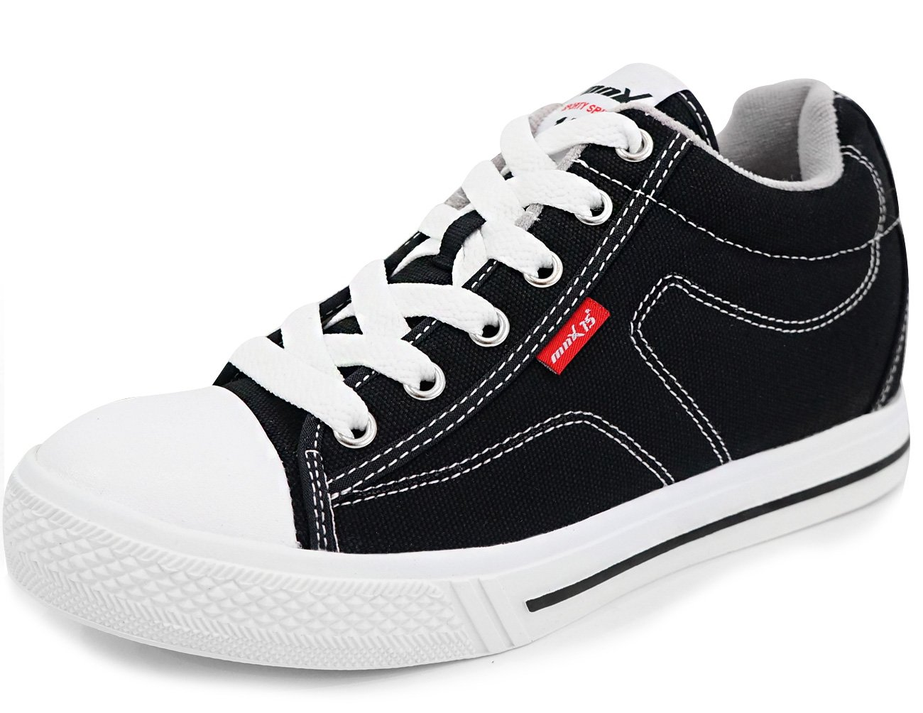 MNX15 Men's Elevator Shoes Height Increase 2.3'' CANVAS BLACK (6 D(M)US / 240mm(KOR), black)