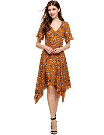 087936ff03 Fanala Womens Short Sleeve Floral Pleated Midi A-line Cocktail Dress Yellow  S