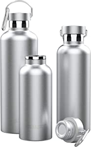 Triple Tree Vacuum Insulated Stainless Steel Water Bottle, Double Wall Wide Mouth Lids 26oz - Keeps beverage Hot or Cold Sweat Proof