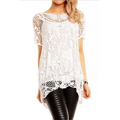 d3a9725ffebf43 Candy Clothing Ladies Long Mesh Lace Tunic top Lagenlook Crochet Evening  Casual Size 12 14 16 18 20 (14 - 16