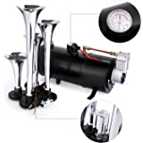 4 Trumpet Train Air Horn Kit, Meditool Loud 145 Decibels with 120 PSI Air Compressor for All Kinds of Vehicle, Truck, Car, Jeep or SUV