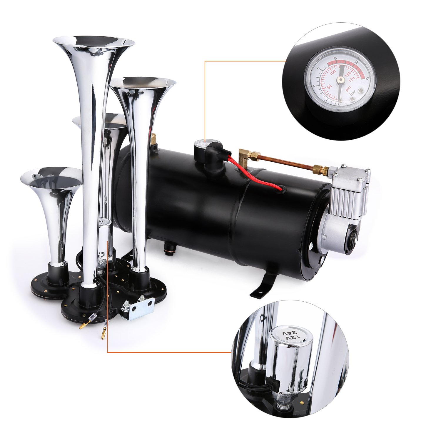 Super Loud 4 Trumpet Train Air Horns kit for Trucks for Car Jeep or SUV Truck Train Van Boat with 120 PSI 12V Compressor and Gauge