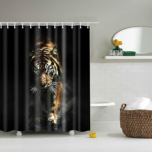 Tyrannosaurus Dinosaurs Bathroom Fabric Shower Curtain Set Waterproof 71Inch