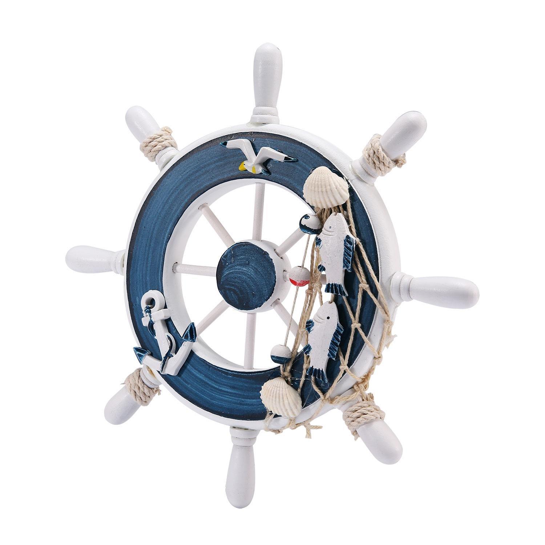 Nautical Beach Wooden Boat Ship Steering Wheel Fishing Net Shell Ornamental Home DIY Wall Dé cor And Babyroom niceEshop