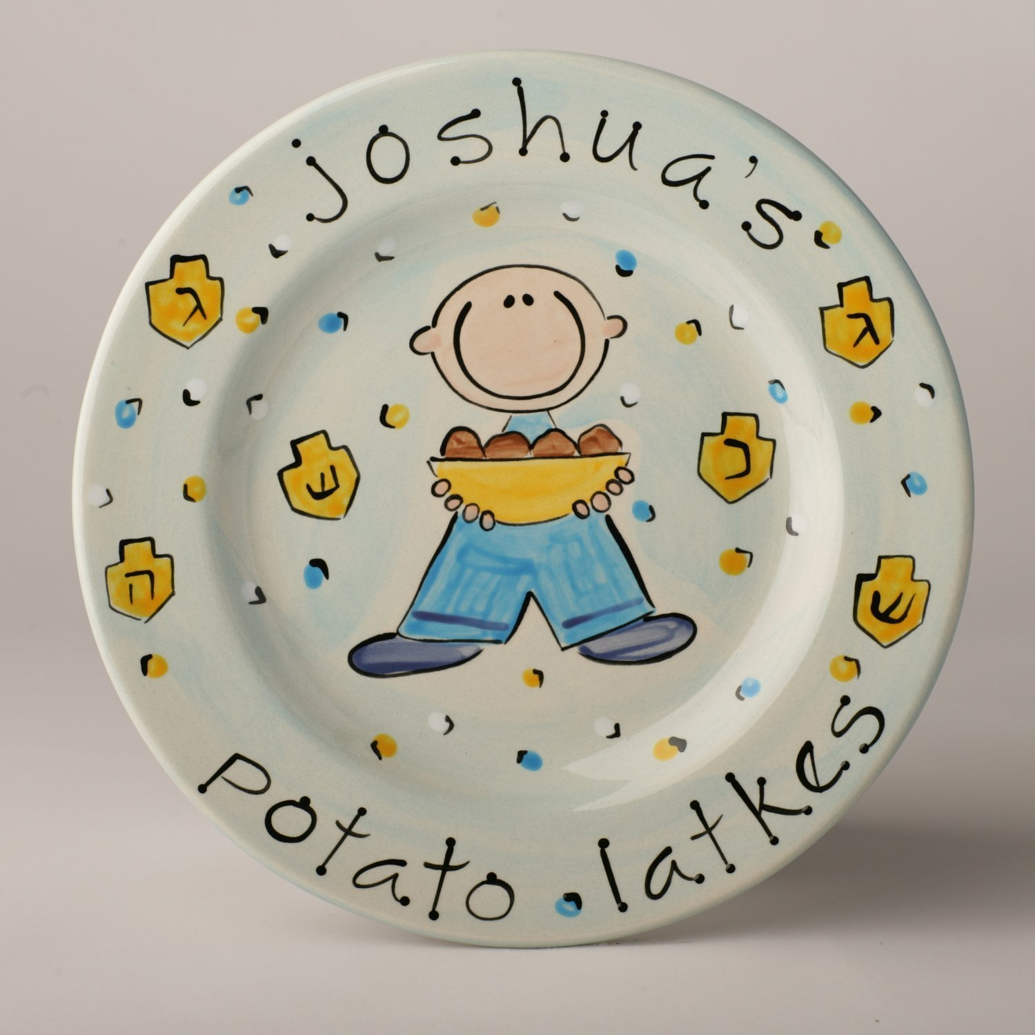 Potato Latke Hanukkah Ceramic Plate Personalized for Boy