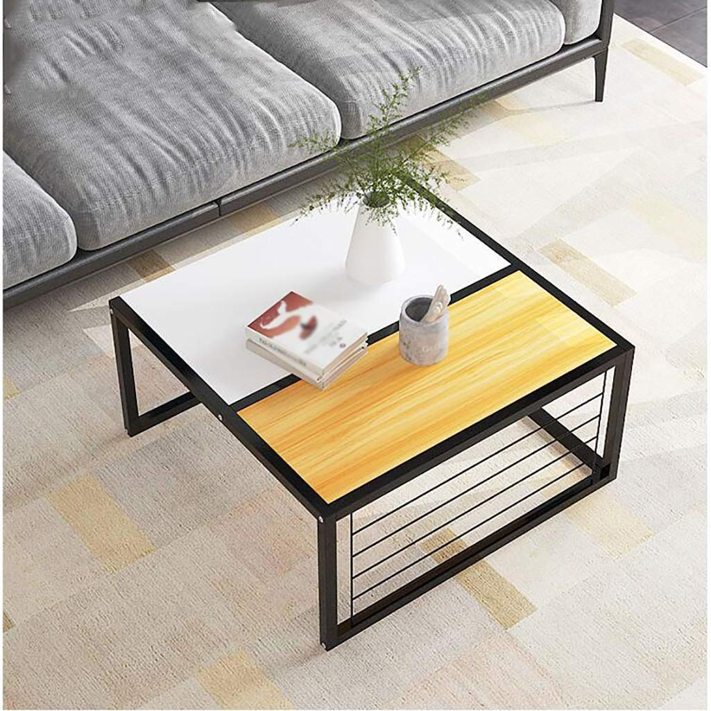 7474cm ZDZ Iron Coffee Table, Square Office Small Apartment Simple Bay Window Home Living Room Square Table (Size   64  64cm+74  74cm)