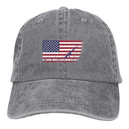 1164f697ea6 Amazon.com  AK-47 American Flag Adjustable Cotton Hat Ash  Clothing