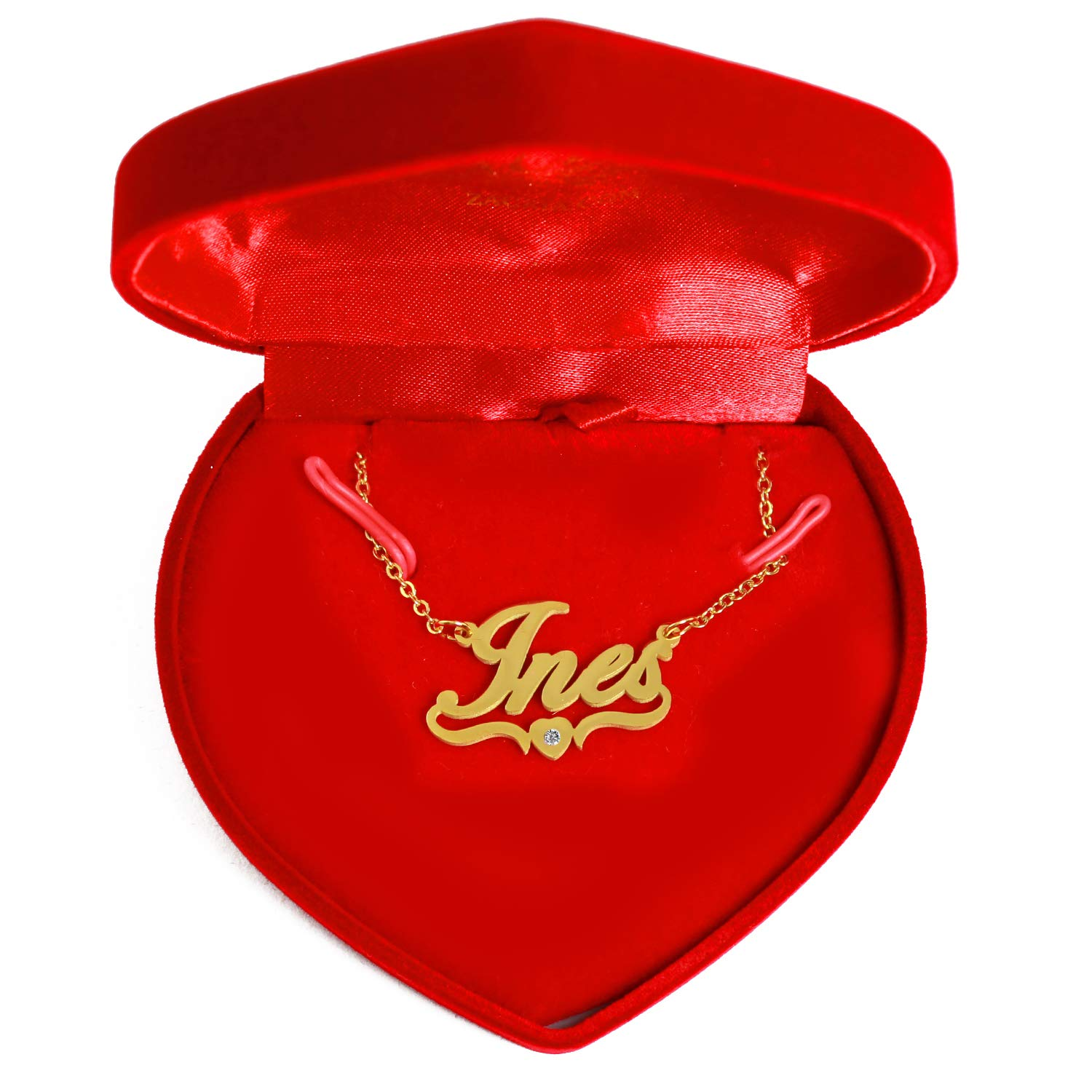 18ct Gold Plated Personalized Custom Name Necklace Heart Shaped Kigu INES