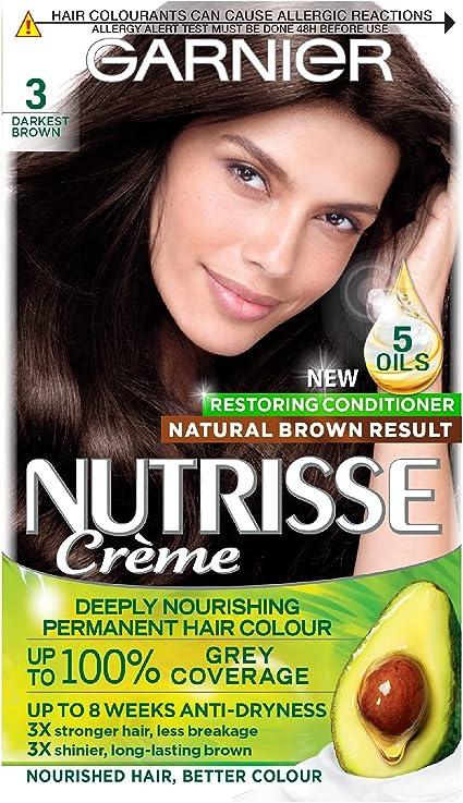 Garnier Nutrisse Tinte para el cabello castaño permanente, hasta 100% cobertura de cabello gris, con 4 aceites acondicionador – 3.12 Cool Frozen Brown