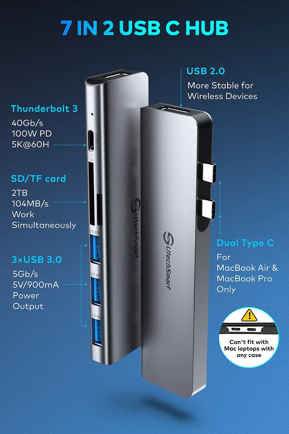 Broonel 7-in-1 Aluminium Alloy USB C Adapter with 3 5Gbps USB Ports//Micro SD Memory Slot Compatible with The Dell Latitude 3500 15.6