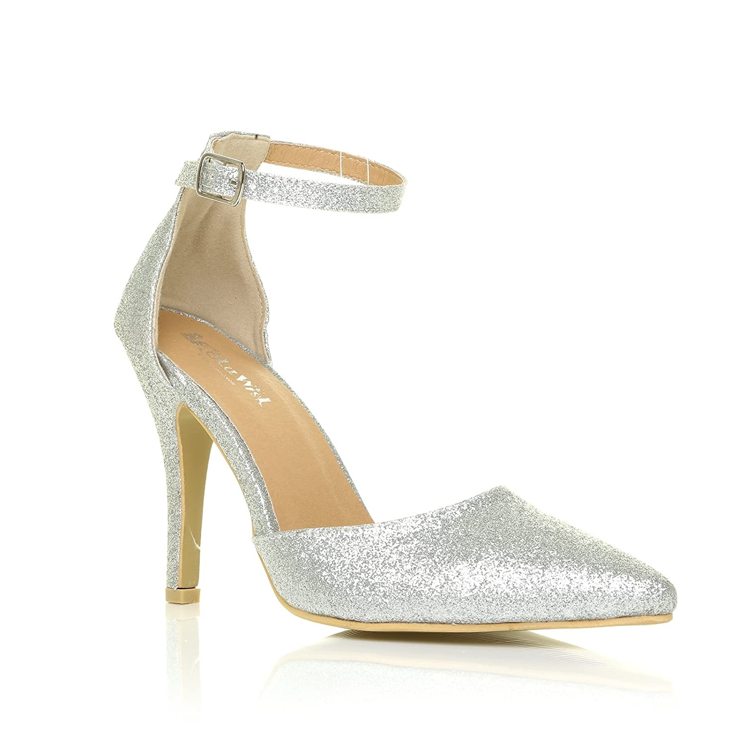 a068df0d417 New York Silver Glitter Ankle Strap Pointed High Heel Court Shoes   Amazon.co.uk  Shoes   Bags