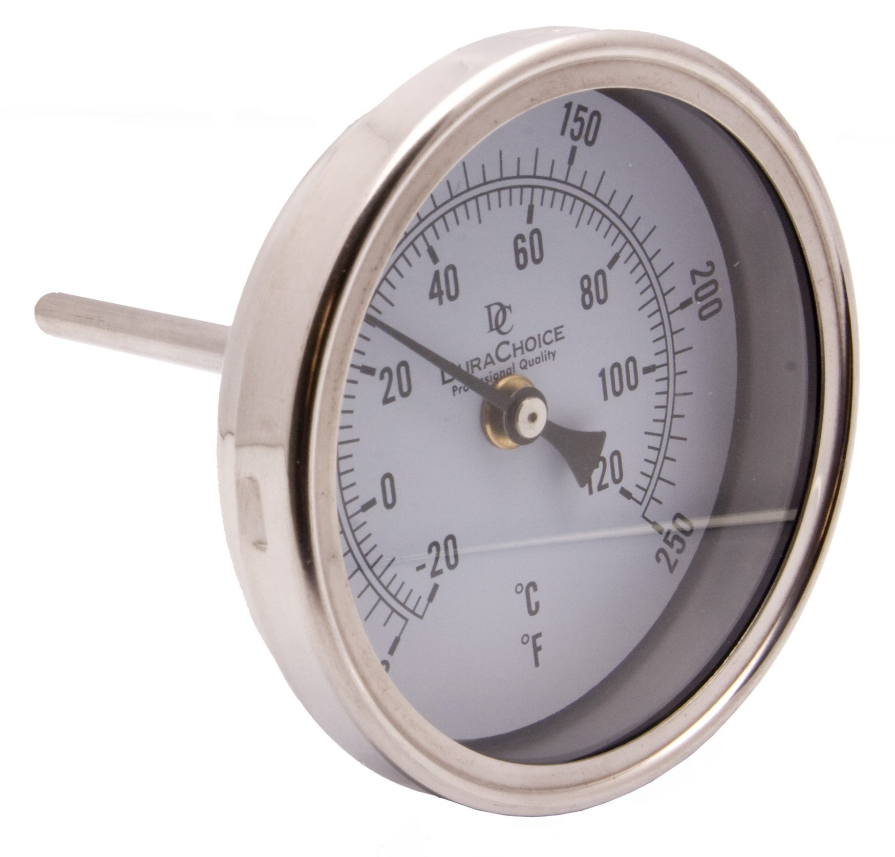 Industrial Bimetal Thermometer 5'' Face x 4'' Stem, 0-250 w/Calibration Dial