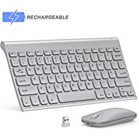 Seenda Ultra Small Low Profile Rechargeable Aluminum Wireless Keyboard and Mouse Combo with Long Battery Life for Windows Device, Silver