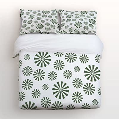 Libaoge 4 Piece Bed Sheets Set, Fresh Green Abstract Windmill Pattern  Design, 1 Flat Sheet 1 Duvet Cover And 2 Pillow Cases