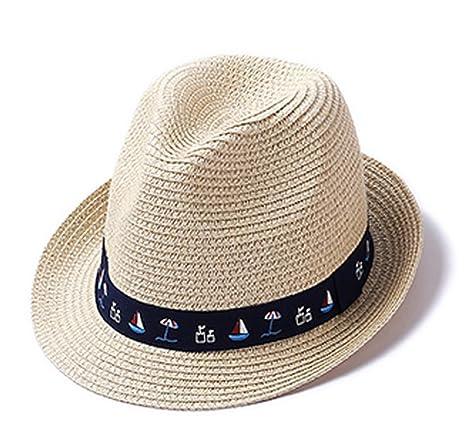 Roffatide Anti-Soleil Chapeau Panama de Paille pour Fille Garçon Beige f532225c64e