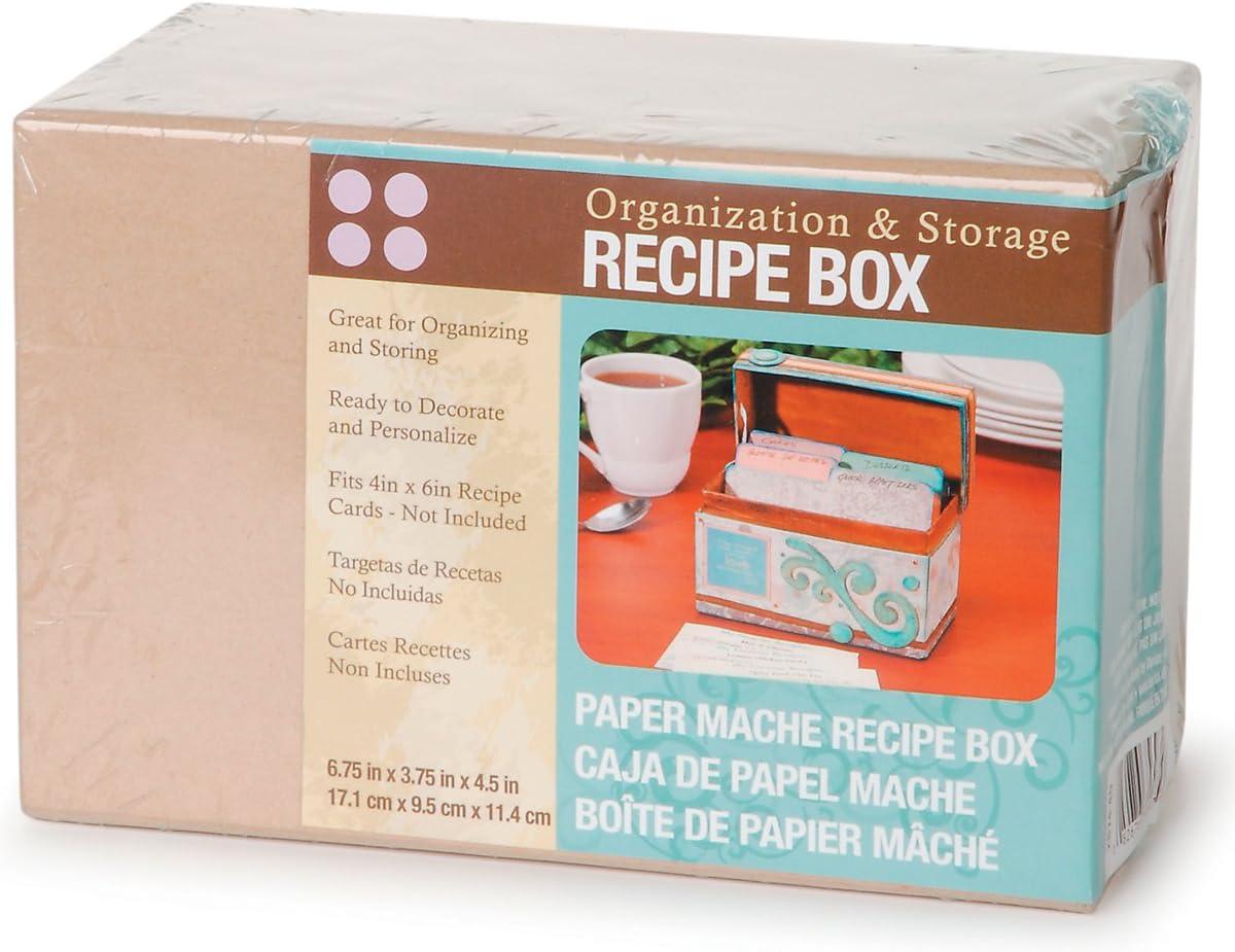 Caja de recetas de papel maché Darice, 6.75 x 3.75 x 4.5-pulgadas: Amazon.es: Hogar