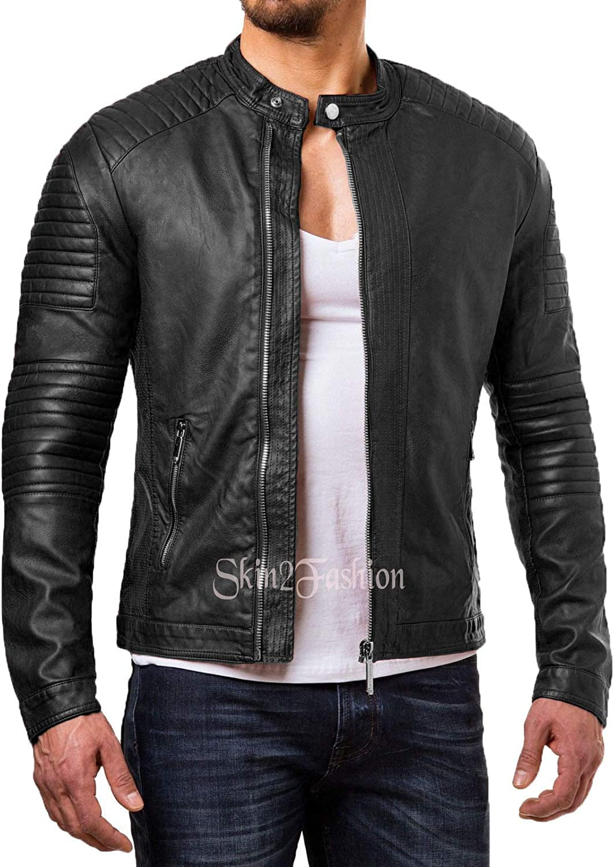 Mens Leather Jackets Motorcycle Bomber Biker Genuine Lambskin 249