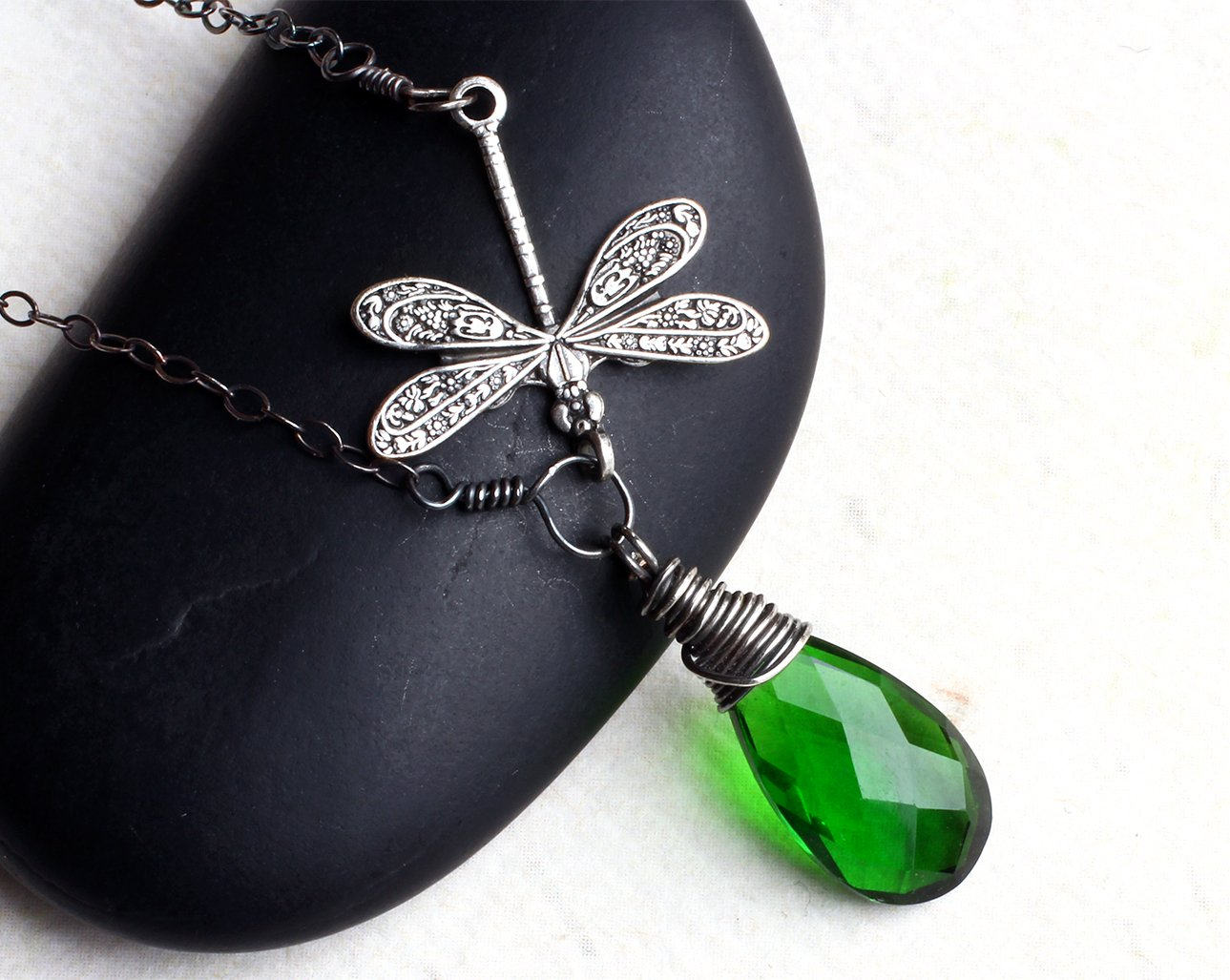 Emerald Green Quartz Necklace, Dragonfly Necklace, Oxidized Sterling Silver -