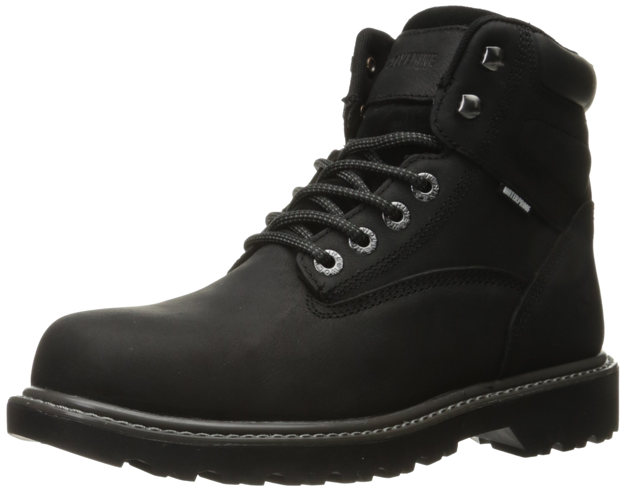 Wolverine Men's Floorhand Waterproof 6'' Steel Toe Work Boot, Black, 10.5 M US