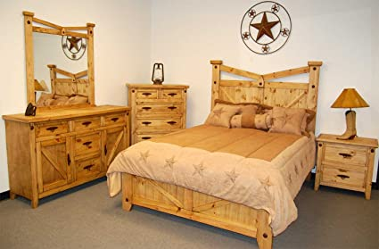 Amazon.com: Rustic, Western Santa Fe Bedroom Set - King Size ...