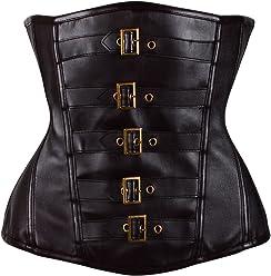 23b1a6381bc AICONL Faux Leather Breathable Corset Heavy Duty Waist Training Shaper  Women s Underbust Steel Boned Goth Steampunk