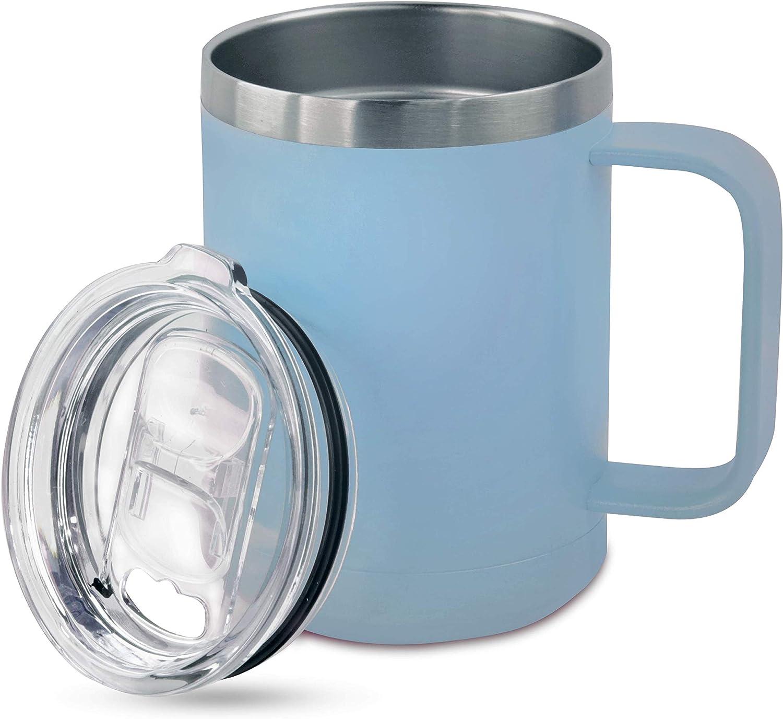 Personalized Food Grade Stainless Steel Vacuum Double Insulated Travel Tumbler Coffee Mug w/Splash Proof Slider Lid  Custom Laser Engraved 44 Options   Hot & Cold Drink Use (Light Blue-Custom, 15oz)