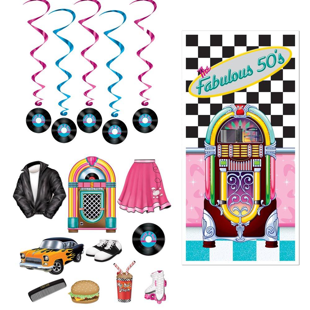 Fabulous 50s Door Cover Rock n Record Dangling Whirls Cutouts 16 Piece Bundle by TCS Party Bundles