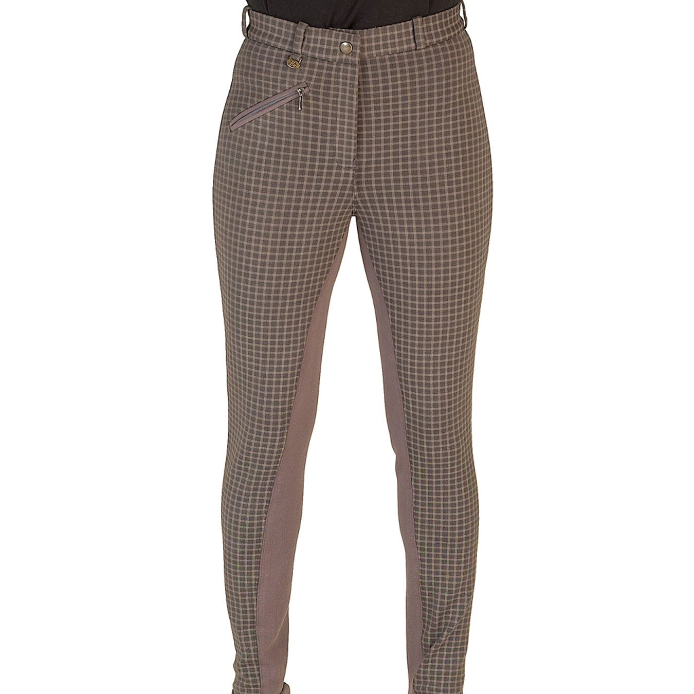 HyPerformance Rio Ladies Jodhpurs - Two tone check printed knitted jodhpurs with plain seat - Classic cut , comfortable & flattering William Hunter Equestrian