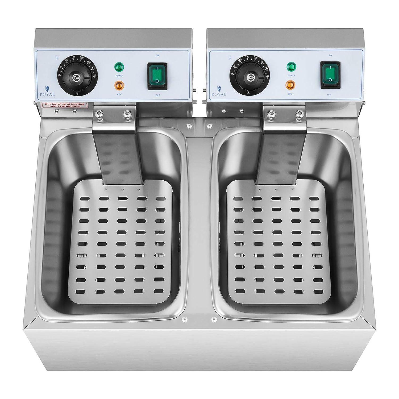Royal Catering Freidora Electrica Profesional Doble Para Hostelería RCEF 08DB (2 x 8 Litros, Potencia 2 x 3.200 Watt, Temperatura: 50 - 200 °C, Zona Fría, ...